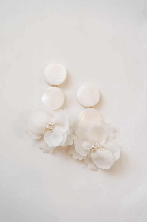 White Appliqué and Mother of Pearl Drops