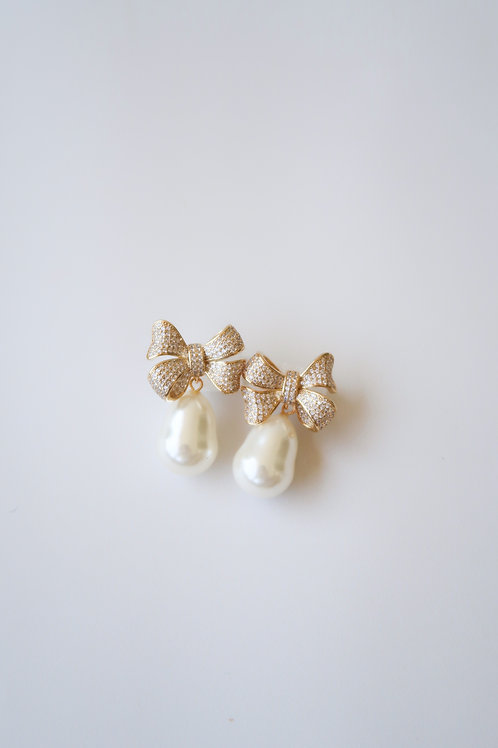Pave Bow & Pearly Drops
