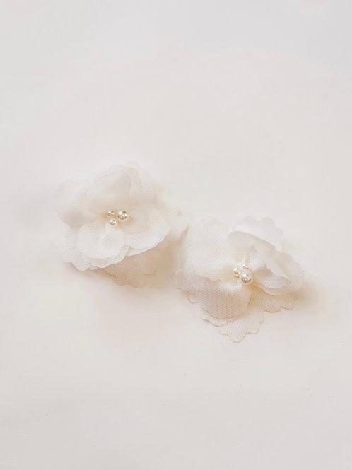 White Appliqué Flower Studs