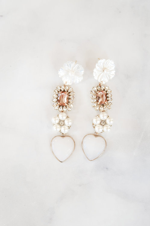 Mother of Pearl & Pink Embellished Hearts
