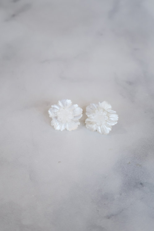 Mother of Pearl Sunflower Center Mini Studs