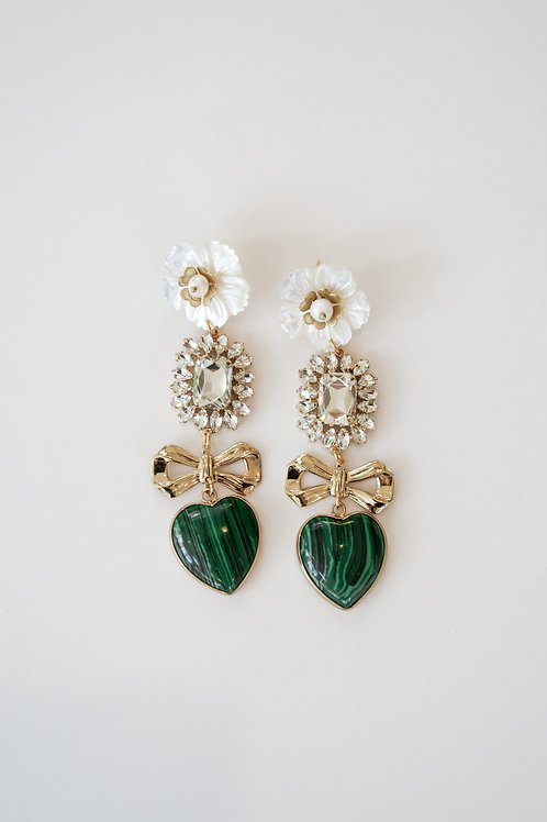 Malachite & Brass Garden Drops