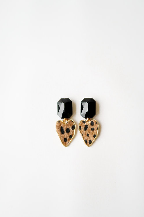 Black Gem & Leopard Hearts