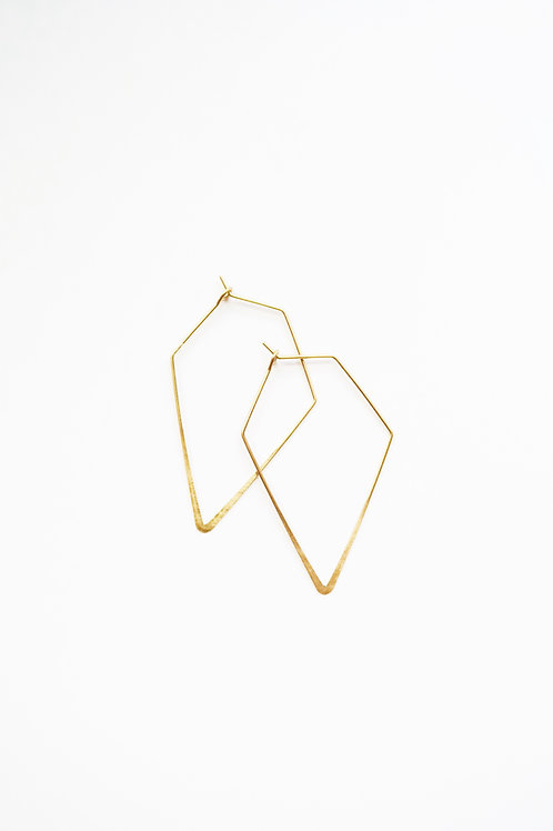 Brass Geometric Hoops