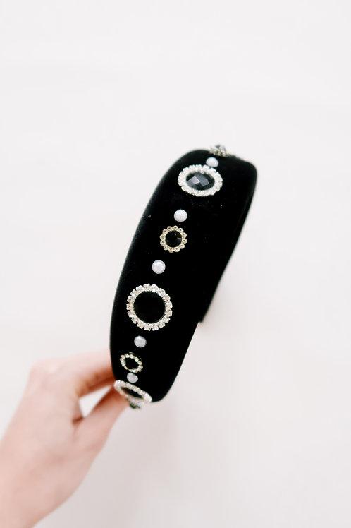 Black Velvet Embellished Headband