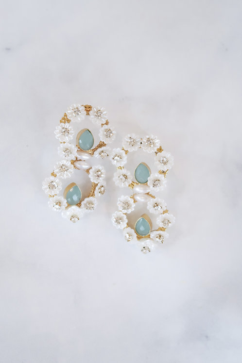 Aqua Chalcedony & Pearl Flowers