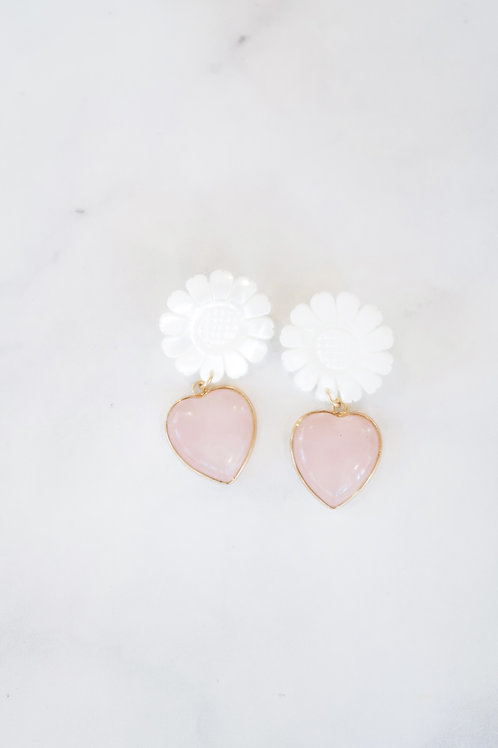 Mother of Pearl Sunflowers & Pink Quartz Hearts