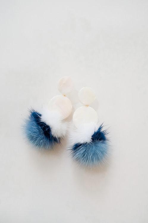 Mother of Pearl & Blue Fur Poms