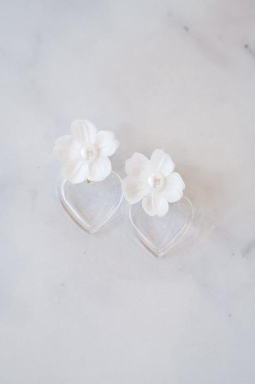 White Petals & Acrylic Hearts