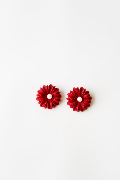 Red Floral & Pearl Studs