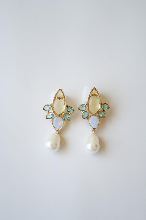 Lemon & Aqua Quartz Pearly Drops