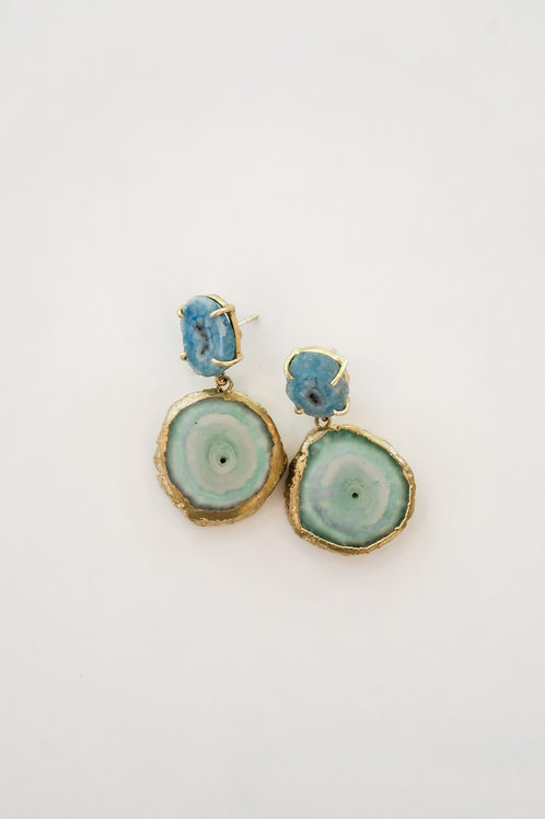 Blue Quartz Geode Earrings