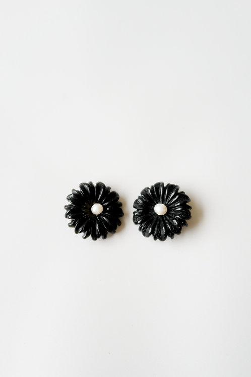 Black Floral & Pearl Studs
