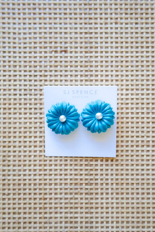 Turquoise floral studs