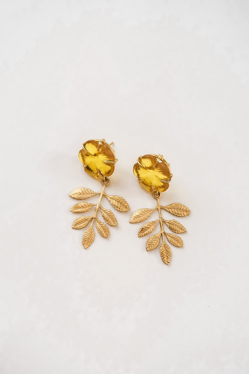 Citrine Quartz & Brass Leaves