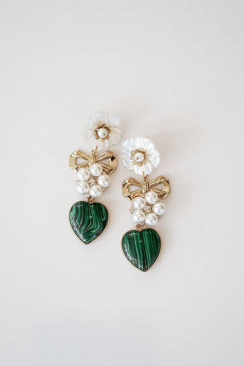 Malachite & Brass Garden Drops