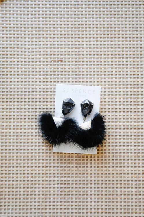 Black Fur Poms