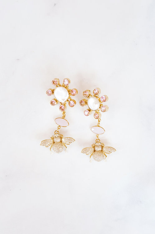 Pink Chalcedony & Baroque Pearl Bees