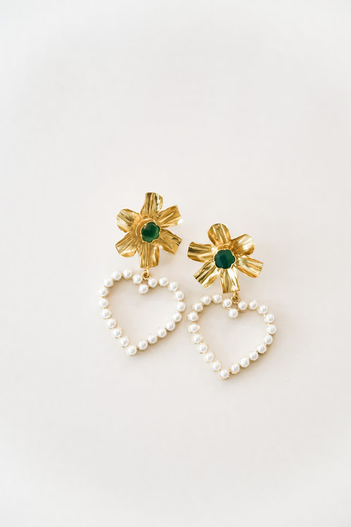 Green & Gold Flowers with Pearly Hearts