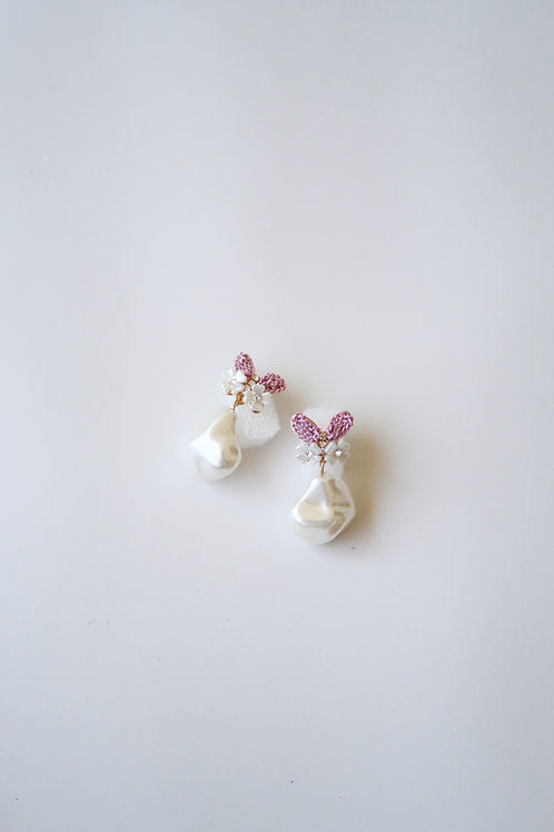 Pink Butterfly & Pearly Drops