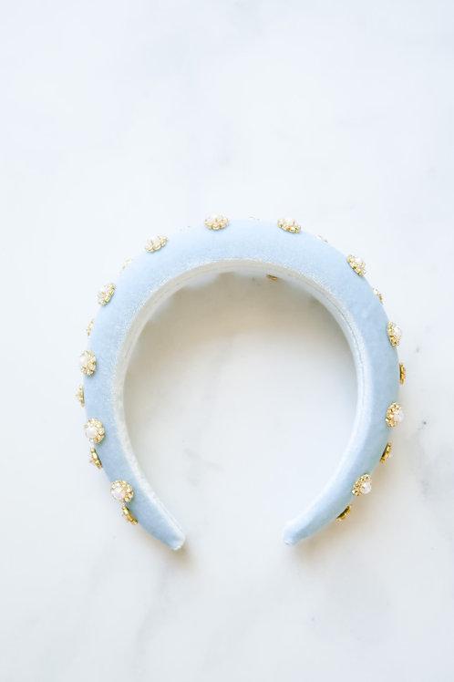 Blue Velvet Embellished Headband