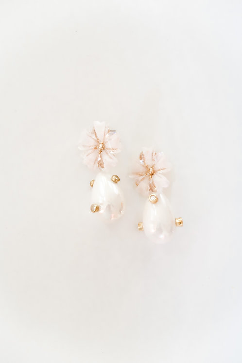 Pink Plumeria and Embellished Pearls