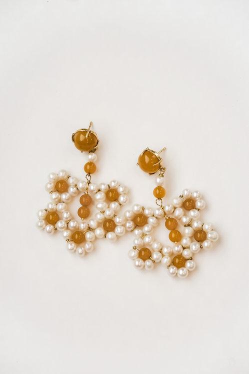 Yellow Chalcedony & Pearl Crochet Earrings