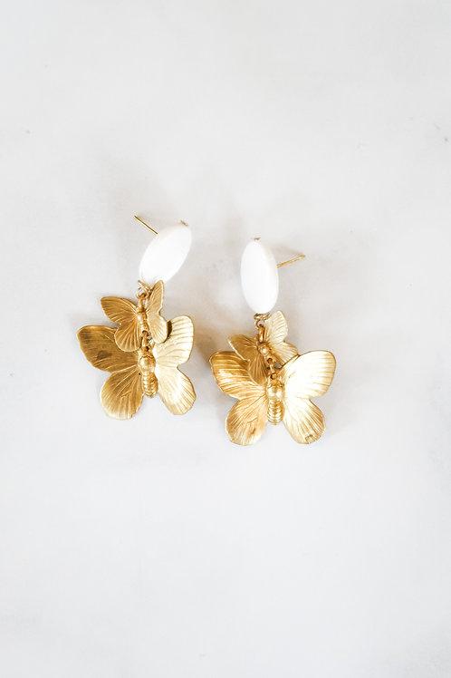 Mother of Pearl & Brass Butterflies
