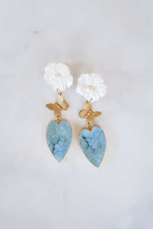 Mother of Pearl, Brass Butterflies & Turquoise Hearts