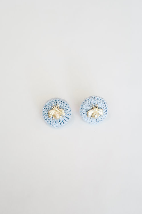 Blue Knit Bee Studs