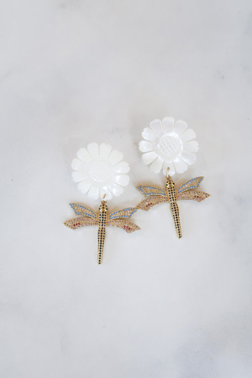 Mother of Pearl Sunflowers & Pave Dragonflies
