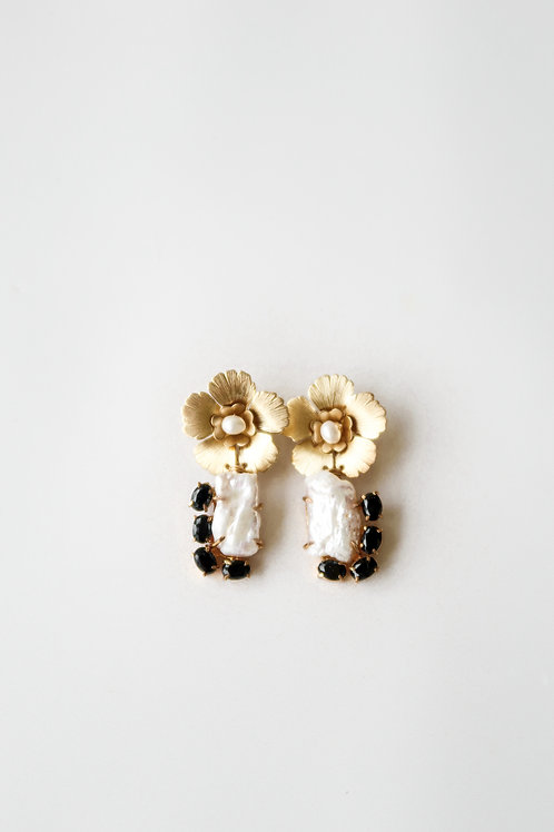 Black Onyx, Baroque Pearl, & Brass Flowers