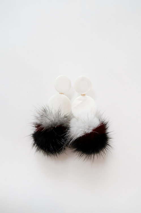 Mother of Pearl & Black, Gray & Red Fur Poms