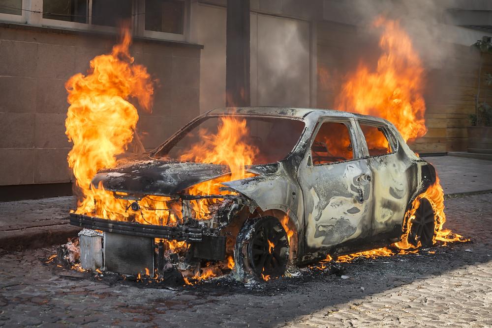 Car exploding.
