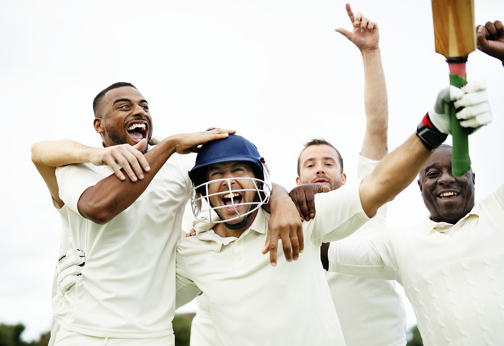 Cricketers celebrating.