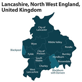 Lancashire map showing Clinical Psychologist in Hyndburn, Lancashire clinic location for private therapy in Hyndburn near Hyndburn and the Ribble Valley, Pendle, Clitheroe and Burnley.