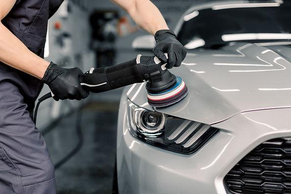 Car detailing and polishing concept. Han
