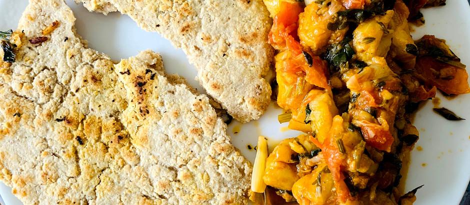 Zaalouk & oatmeal flatbread