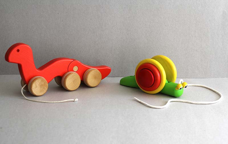 Red Wobbly Worm and Snail - Pull along Wooden Toys