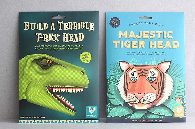 Build a Terrible T-Rex Head / Majestic Tiger Head