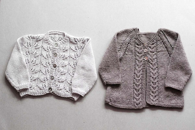 Light Grey Lace Cardi / Cable Front Natural Dye Cardi