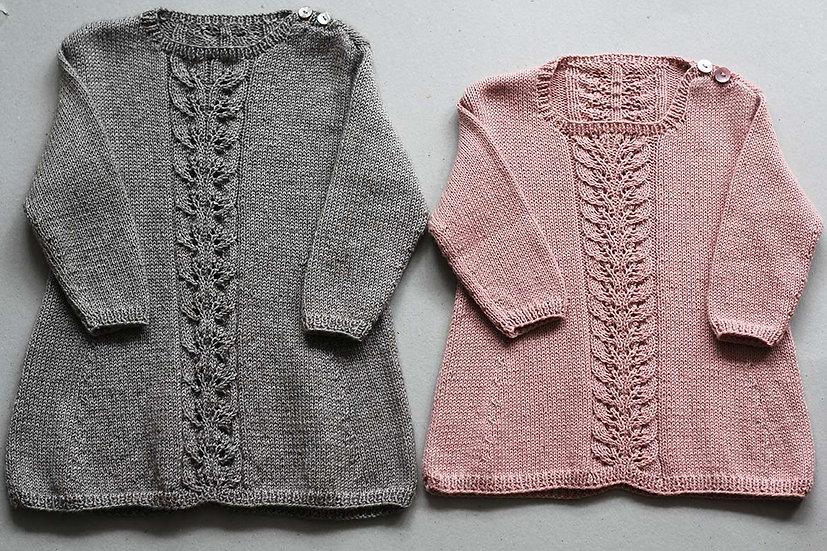 Dress wool silk & cashmere 9-12 mths / Pink Merino Wool 3-9 mths