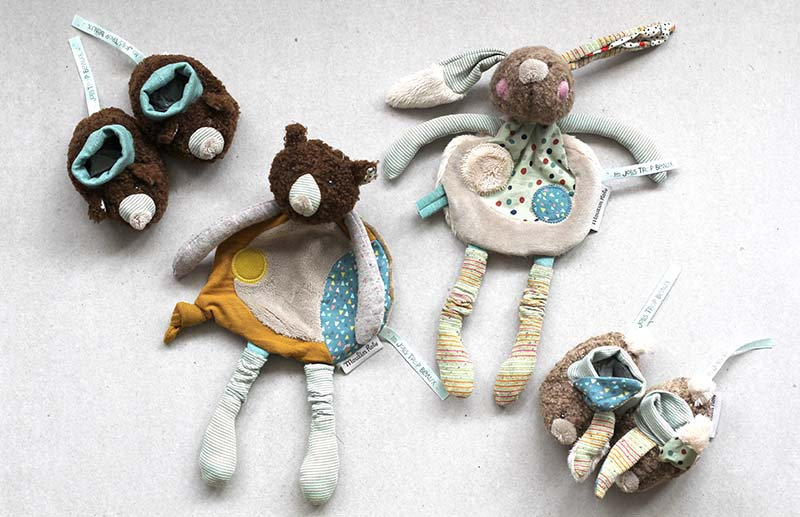 Brown Bear / Bunny Comforter and Baby Slippers