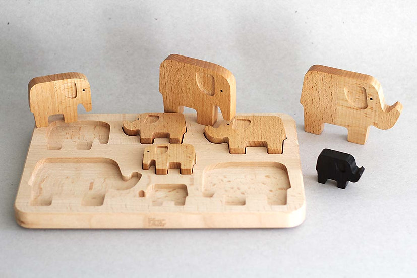 Wooden Elephant Puzzle & Stacker