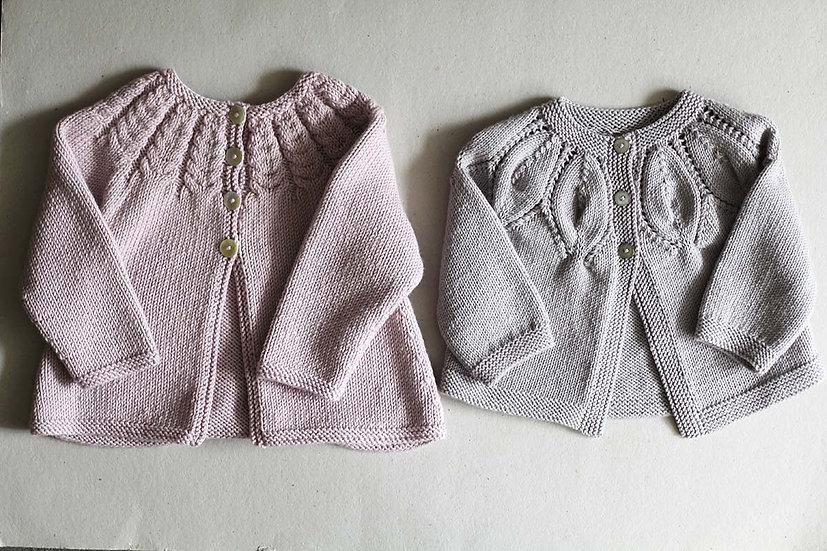 Lilac Cable Cardigan/Grey Lace Yoke Cardigan