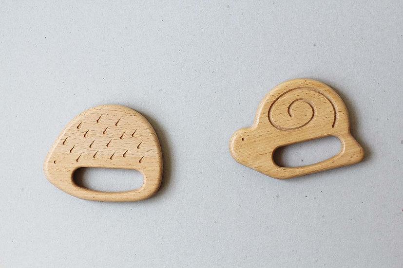 Hegehog & Snail Wooden Teether