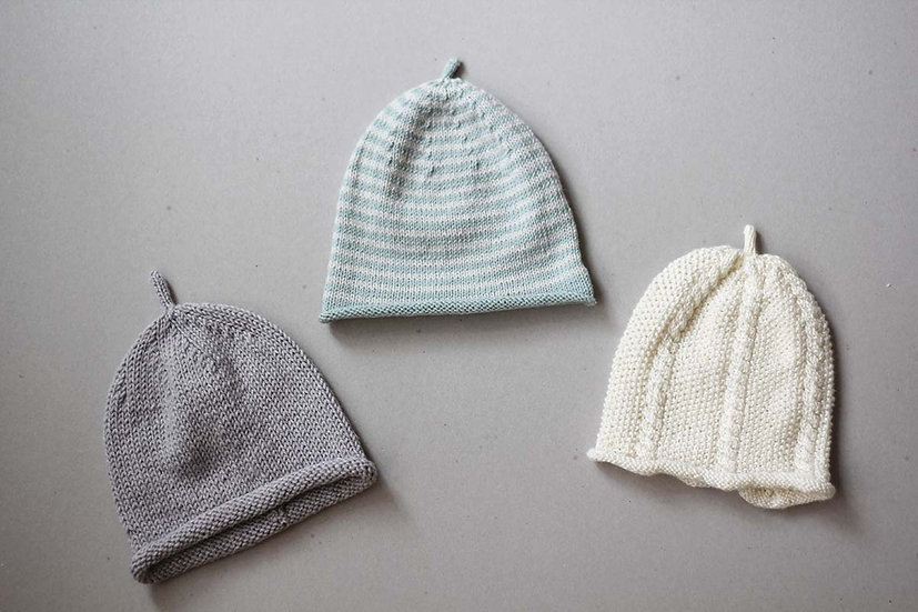 Hand knit baby hats