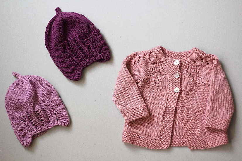 Hand knitted hats and cardigan