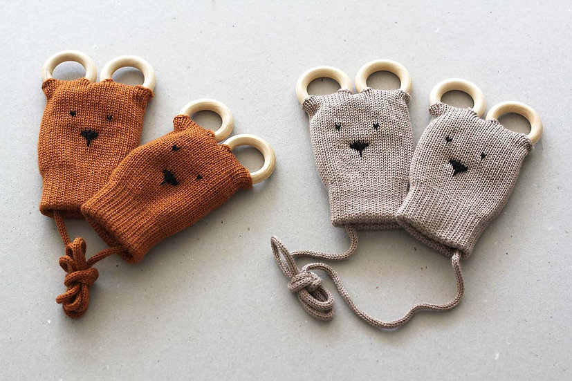 Button and Blue  - Teething Mittens 0-12mths