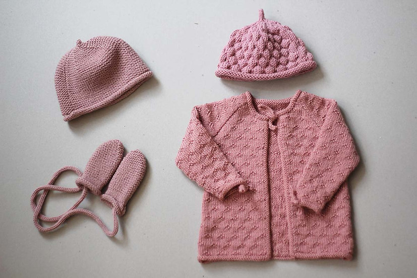 Pink hat and Mittens set/ Raspberry Beanie/ Pink knot tie Cardigan